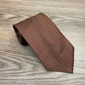 Hart Schaffner Marx Brown w/ Pink Windowpane Tie